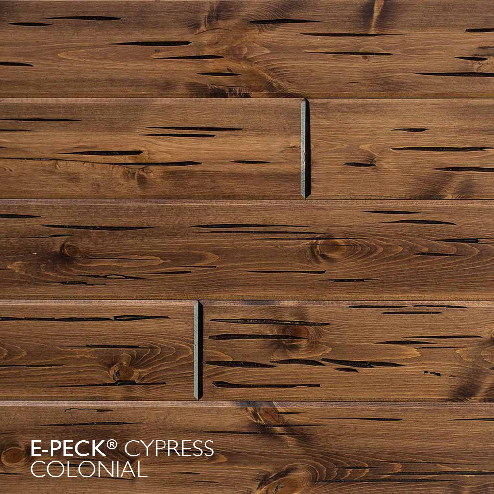 E-Peck® Cypress Colonial by Synergy Wood - Rare Pecky Cypress look on Cypress, Ponderosa Pine and Southern Pine boards.