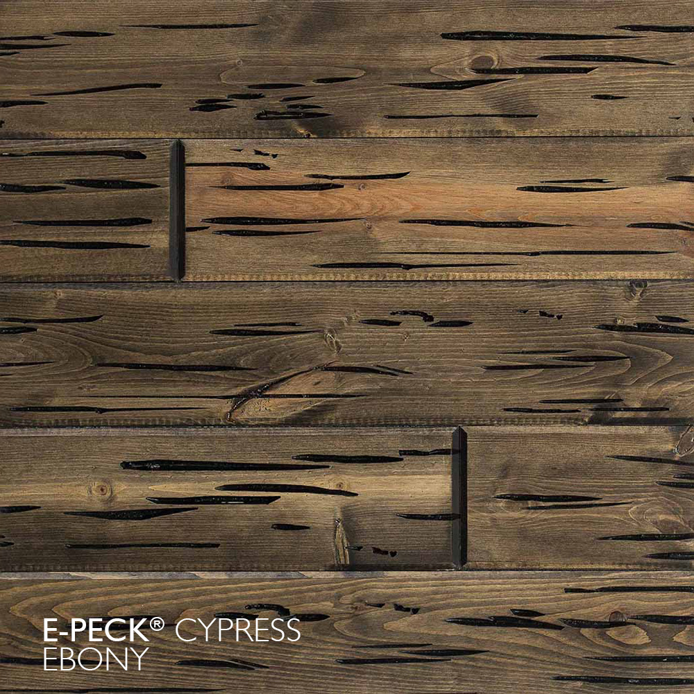 E-Peck® Cypress Ebony by Synergy Wood - Rare Pecky Cypress look on Cypress, Ponderosa Pine and Southern Pine boards.