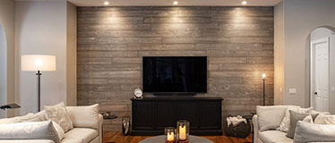 Rustic Barnwood by Synergy Wood - using kiln dried cypress boards creates rustic barn wood wall and ceilings