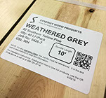 Synergy Wood product labels with QR tag for installation instructions.