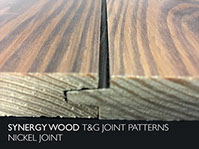 Nickel Joint Shiplap style Synergy Wood features prefinished, handcrafted wood walls and wood ceilings.