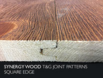 Square Edge Synergy Wood features prefinished, handcrafted wood walls and wood ceilings.
